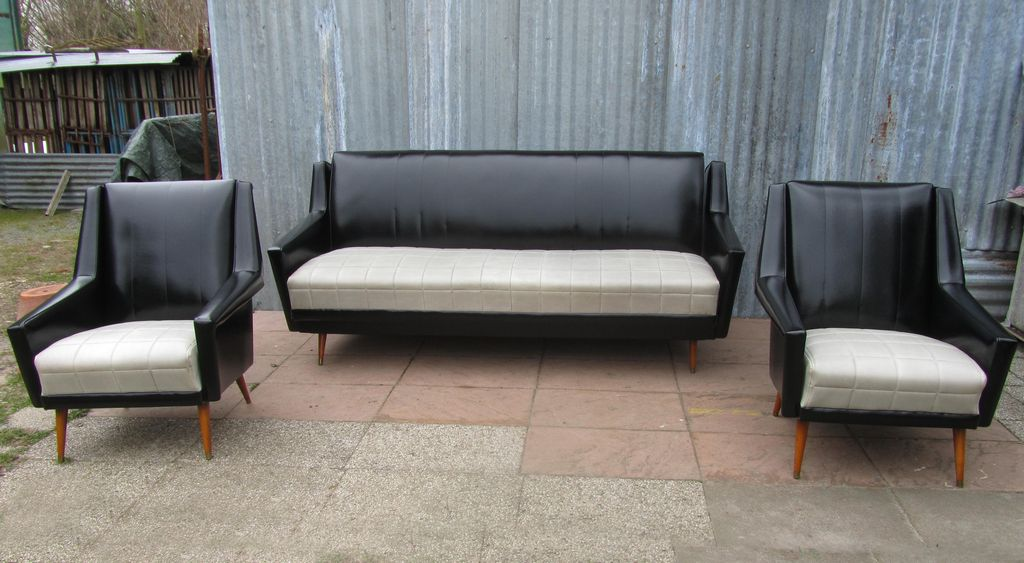 Vintage Fauteuil Skai.Vintage Modernist Skai Fifties Sixties Couch Sofa Bed And 2
