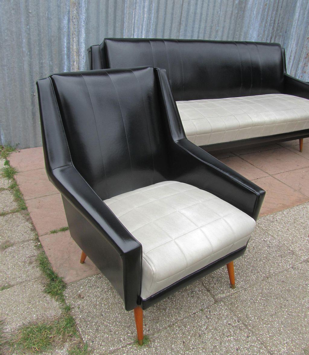 Vintage design retro jaren 50 60 skai bank sofa slaapbank en twee armstoelen fauteuils - Bed na capitonne zwarte ...