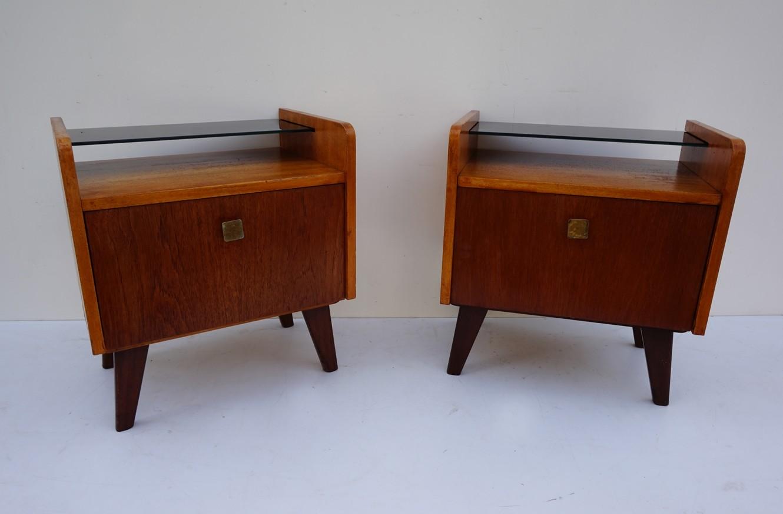 Verwonderend Set van 2 vintage teak houten nachtkastjes LW-89
