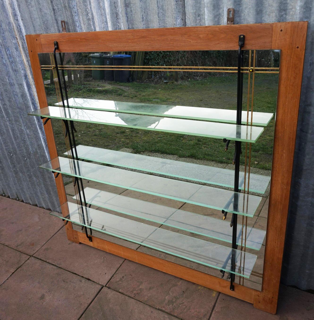 Ongekend Vintage spiegel achterwand voor bar met glazen schappen voor cafe PV-49