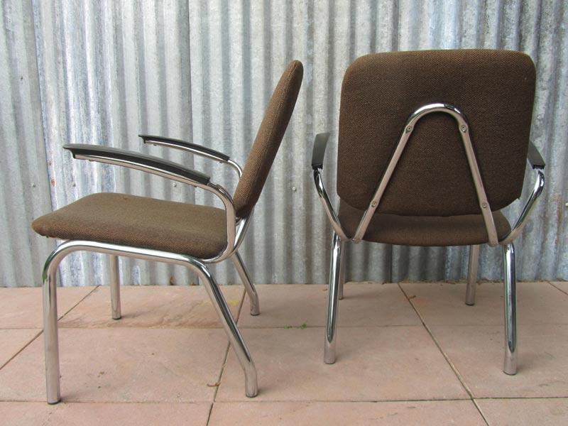 Set van 2 Vintage Gispen    De Wit fauteuils   Tubular Easy Chairs