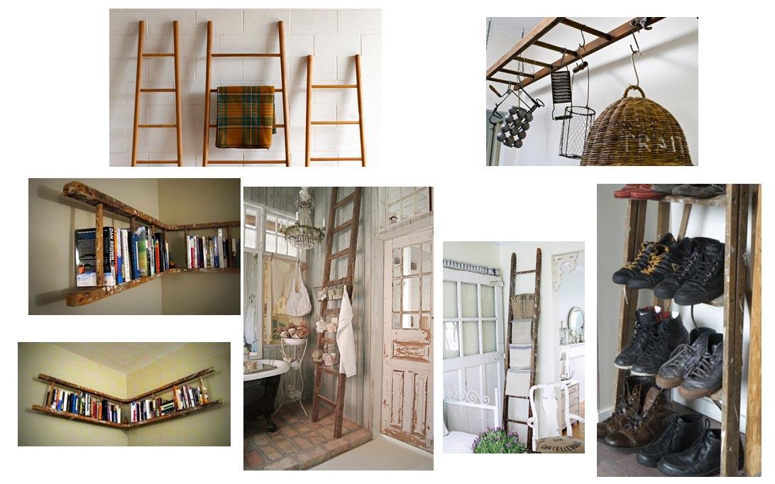 ... oude industriële ladder, vintage brocante ladder, decoratieve ladder