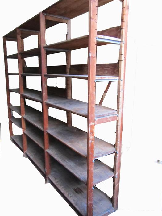 Industriele vintage houten kast stellingkast boekenkast wandrek - Wandrek ijzeren ...