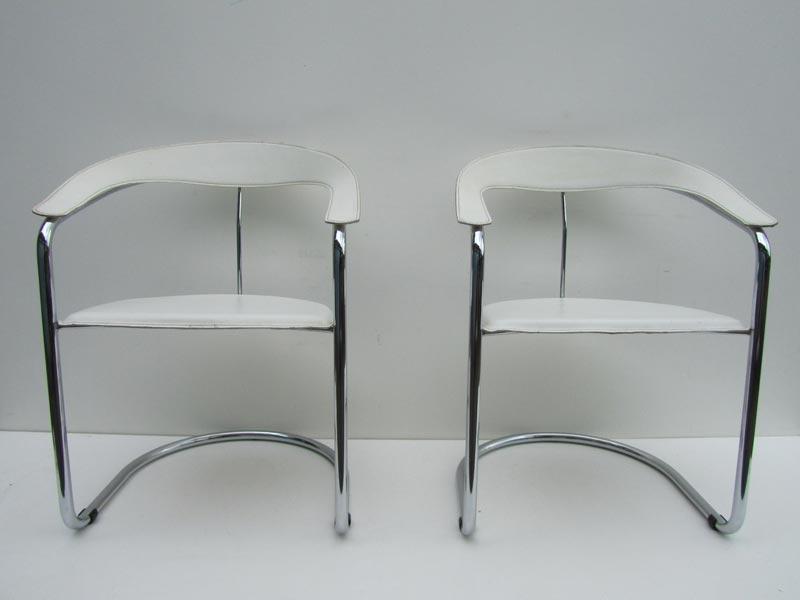 meubels 5 italiaanse mid century witte leren stoelen