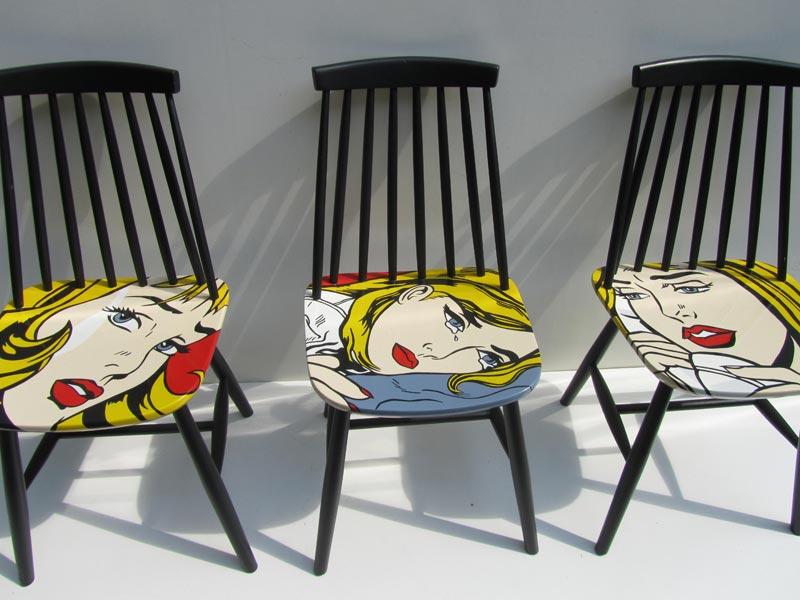 Design Pastoe Stoelen : Retro vintage tapiovaara pastoe stoeltjes handbeschilderd met pop
