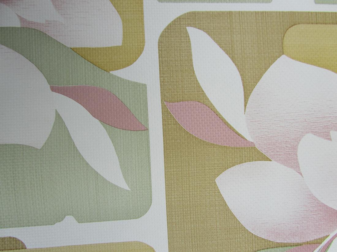 Behang Oud Groen.Retro Vintage Behang Magnolia Bloemen Behang Roze Groen
