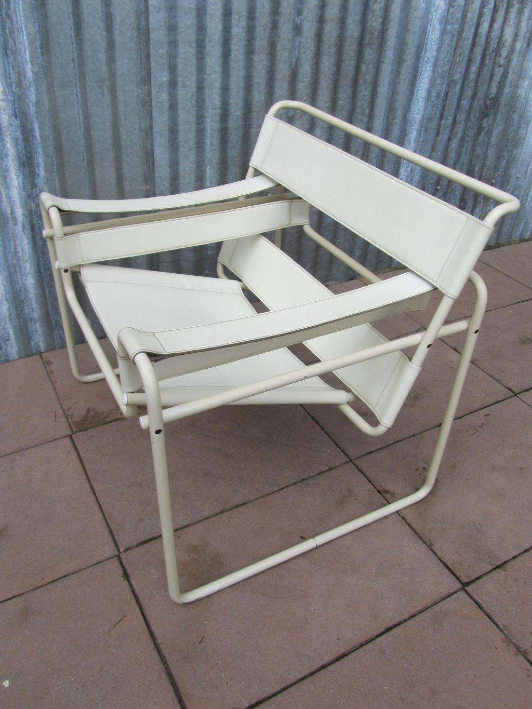 Vintage wit leren armstoel uit de jaren 70 80 in de stijl for Bauhaus stoel leer